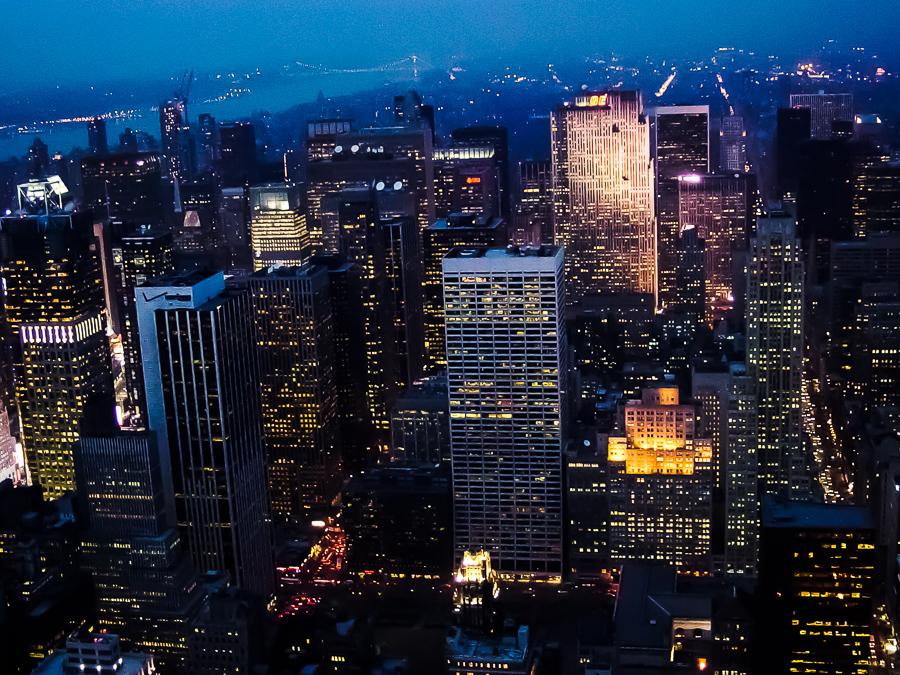 New York City Lights At Night, Blue Fog