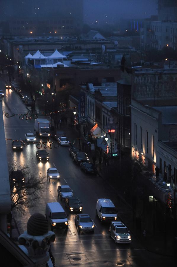City Streets In Dark Rain Austin, Texas