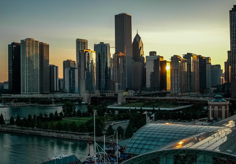 Chicago, Twilight, Cityscape, Boardwalk