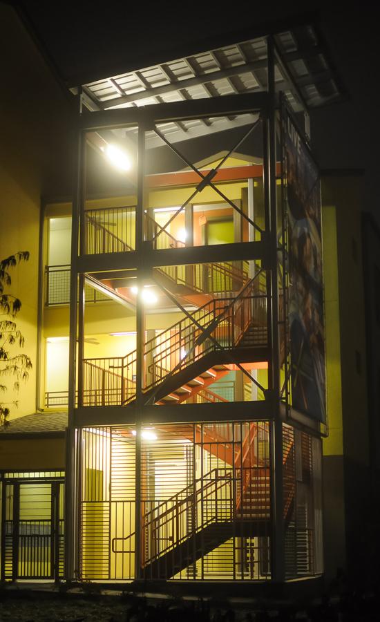Urban Fog Parking Lot Stairway