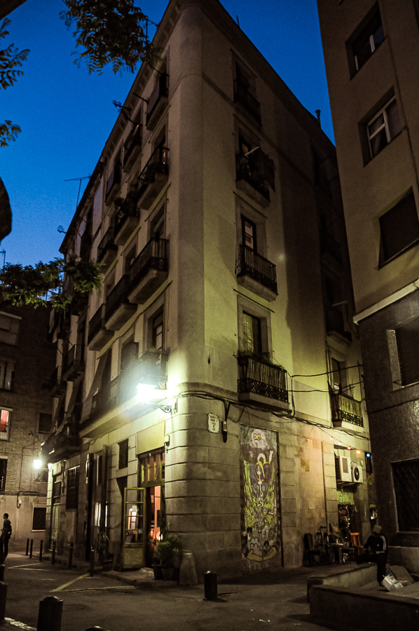 Barcelona Spain Night Building Hidden Street Restaurant Soccer K