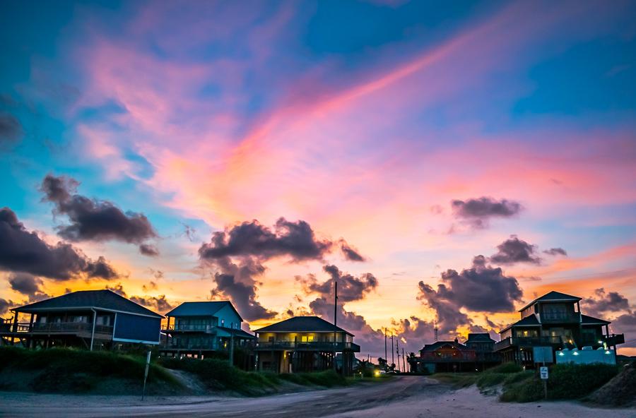 Sunset Texas Gulf Coast, Lights In Beach Cabins