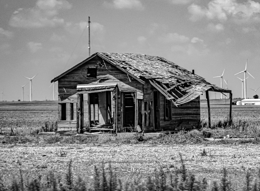 Abandoned Building - This House Was Once New - Windmills Behind