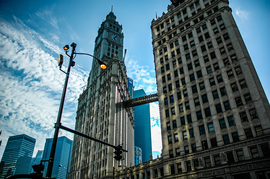Wrigley Building Chicago Lights Sky