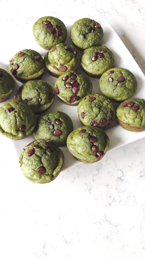 Green Monster Muffins with chocolate chips - healthy snacks for kids