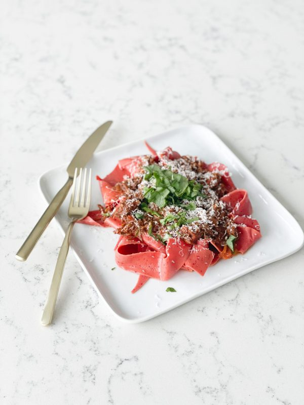 Pink Papardelle with delicious Beef Ragu