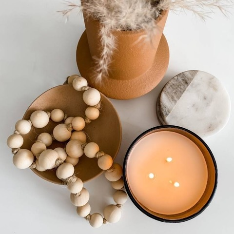 wooden beads and fall candle