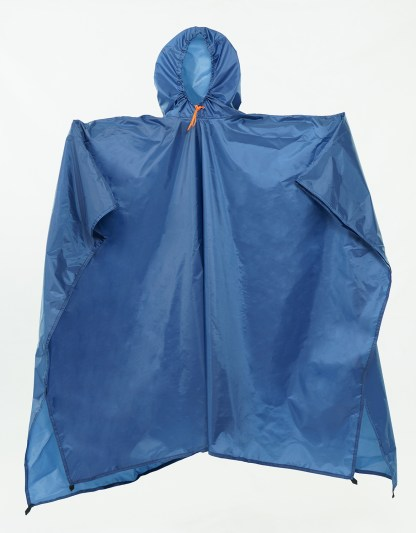 blue backpacking poncho