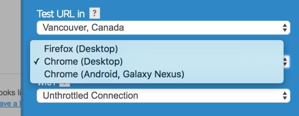 GTMetrix test with browser