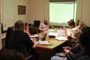 Riverhead Charter School Board of Trustees during its March 11 meeting. (RiverheadLOCAL photo by Denise Civiletti)
