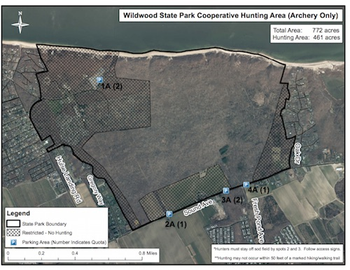 Wildwood state park in wading river is opened to bow for Nysdec fishing license