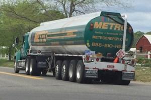 A 20-wheel Metro fuel truck on Sound Avenue. Courtesy photo: Neil Krupnick