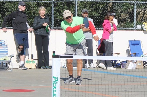 Artie Johnsen of Calverton, the man credited with bringing the pickleball craze to Riverhead, competes in the 3rd Annual Fall Classic Pickleball Tournament Saturday in Stotzky Park. Photo: Denise Civiletti