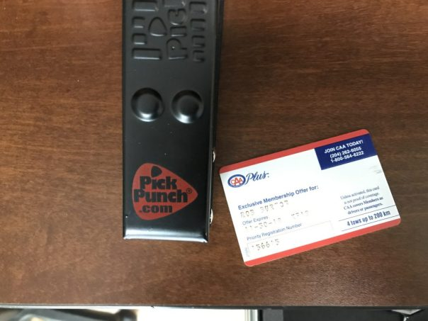 Before Picture of the Pick Punch and the CAA Card