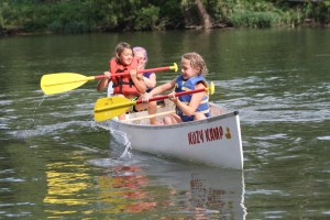 We Got This - Madie and Belle Monroe, of Pineville, take control of steering and padding a canoe for the first time during a river and water safety event held by the Young Outdoorsmen United organization.