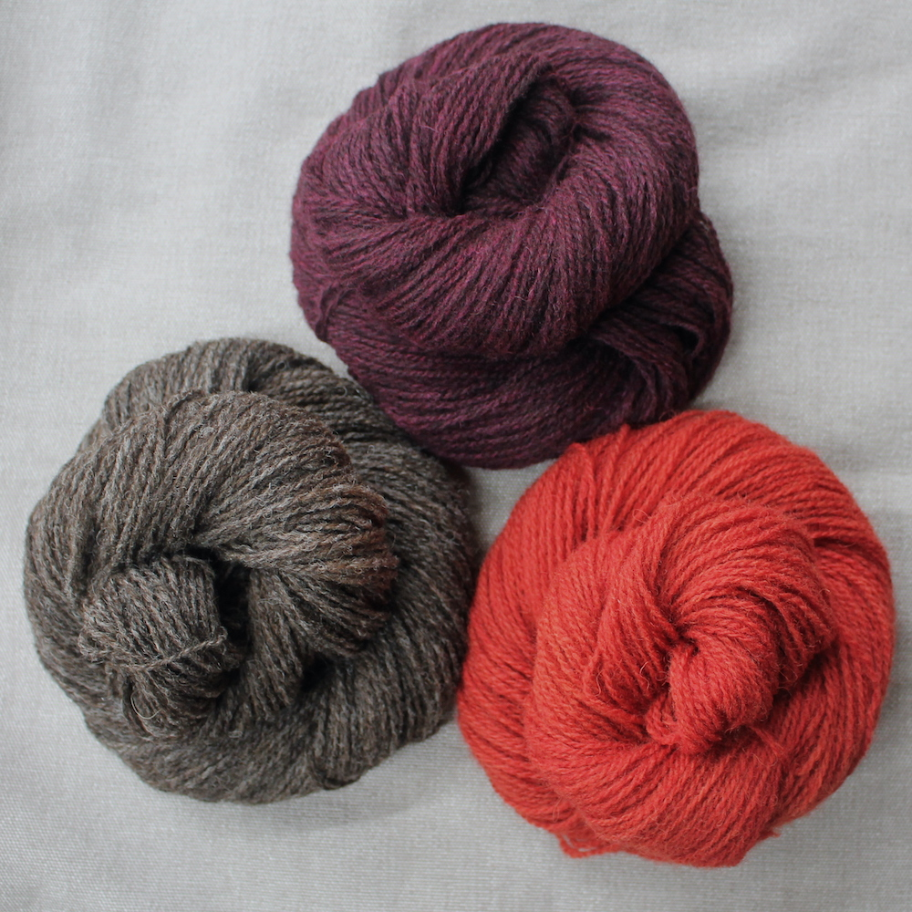 A group of 3 skeins in dark red, natural brown, and a strong burnt red colour