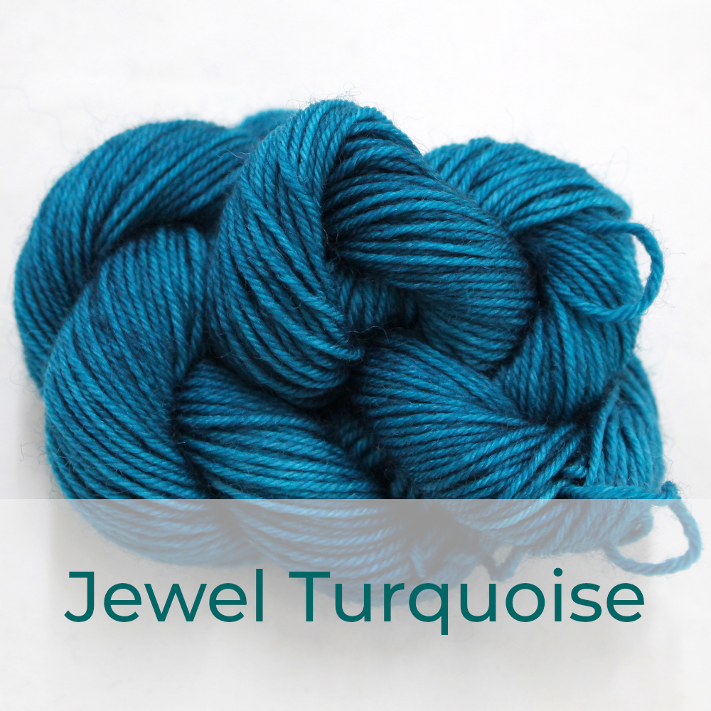 BFL 4 Ply mini skein in Jewel Turquoise colourway. It is rich turquoise.