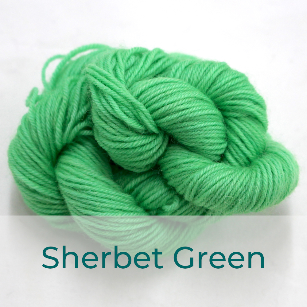 BFL 4 Ply mini skein in Sherbet Green colourway. It is light bright green.