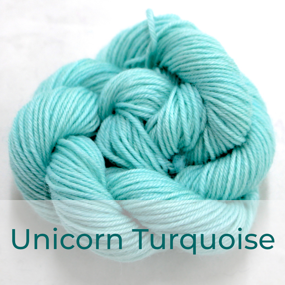 BFL 4 Ply mini skein in the Unicorn Turquoise colourway. It is very light turquoise.