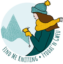 Stockist logo showing a woman in knitwear knitting in front of a mountain