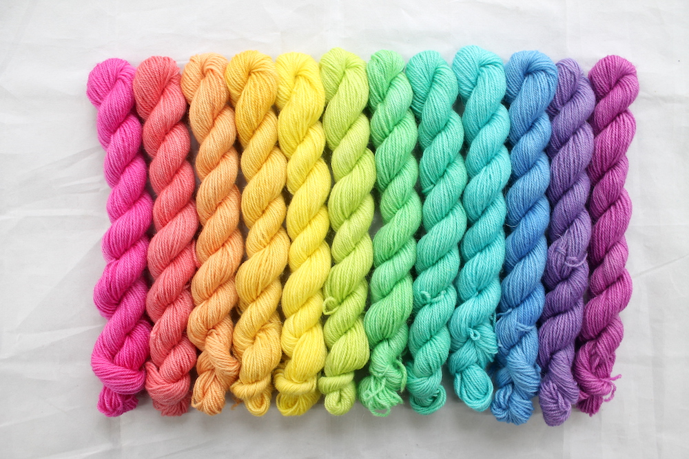 12 mini skeins in a sherbet rainbow