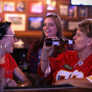 Chiefs fans watching the game at Chappell's Restaurant and Sports Museum