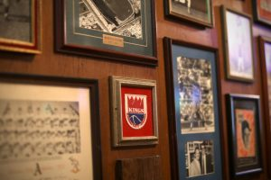 Display of memorabilia on the wall at Chappell's, a sports bar and museum in Kansas City
