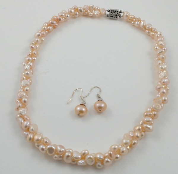 2-strand pink baroque pearl set