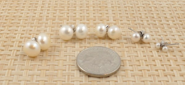 Assorted white pearl studs