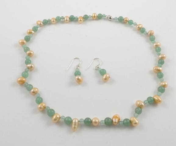 Gold Pearl & Jade Set