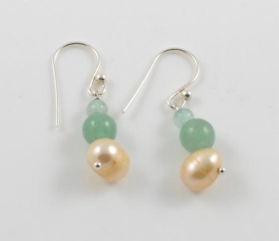 Gold Pearl & Jade earrings