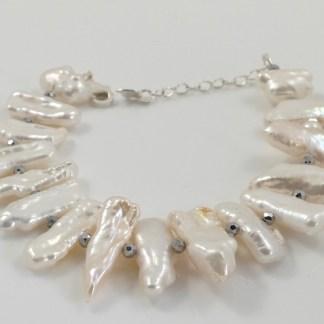 White Spiky Biwa Bracelet