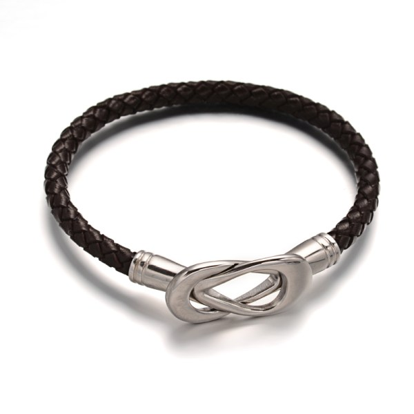 Braided leather & figure 8 clasp