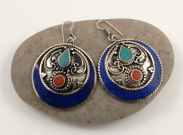 Round Lapis earrings