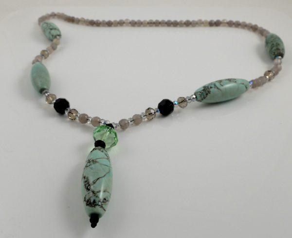 Jasper & Moonstone Y necklace