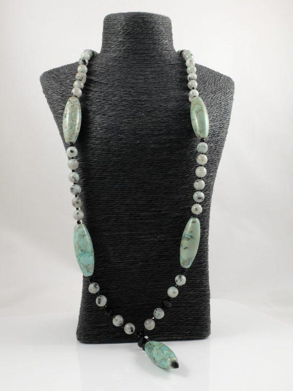 Tianshan Lan Jasper Y Necklace & Earrings 2