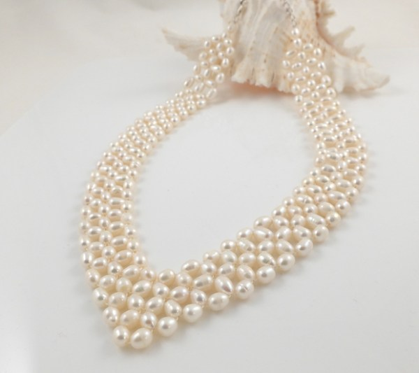 White Pearl V Collar Necklace