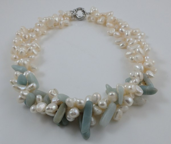 White Peal & Amazonite Necklace