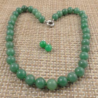 12mm Donlin Jade necklace studs set