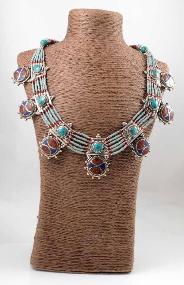 Coral, lapis & Turquoise necklace -TN06