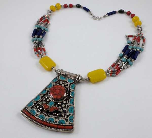 Multi-strand Coral, Turquoise & Bee wax Tibetan Necklace TN39