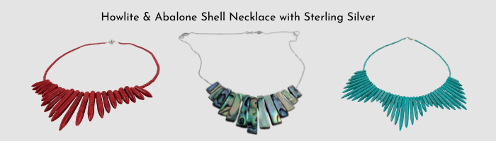 Abalone and howlite necklace slide