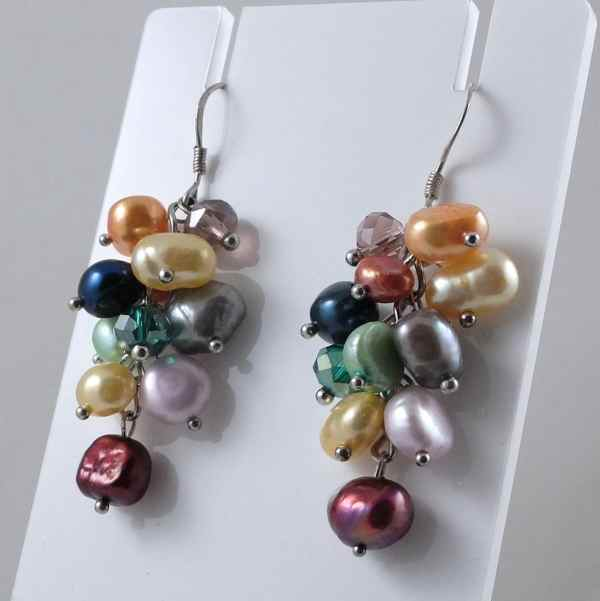 Multi-colour baroque pearl earrings without crystals