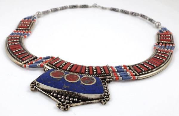 Tibetan Necklace TN21 blue lapis coral necklace