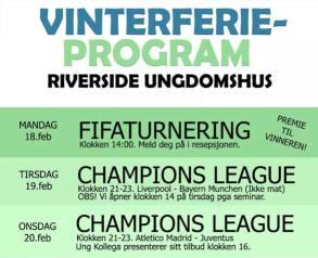 Aktiviteter i vinterferien 2019 på Riverside ungdomshus