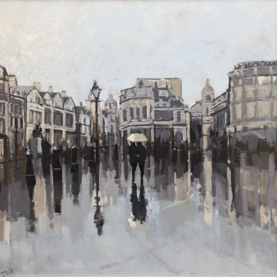 Trafalgar Square. Rainy Day by Jennifer Greenland Riverside Gallery Barnes