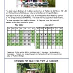 DVB Boat Trip Timetable May & June 2019