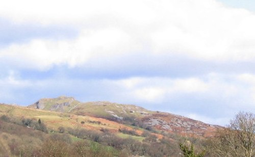 "alt=""Photo of Cribarth hill or the Sleeping Giant by Nigel Davies , part of the Fforest Fawr UNESCO Global Geopark, Abercrave, Wales."""