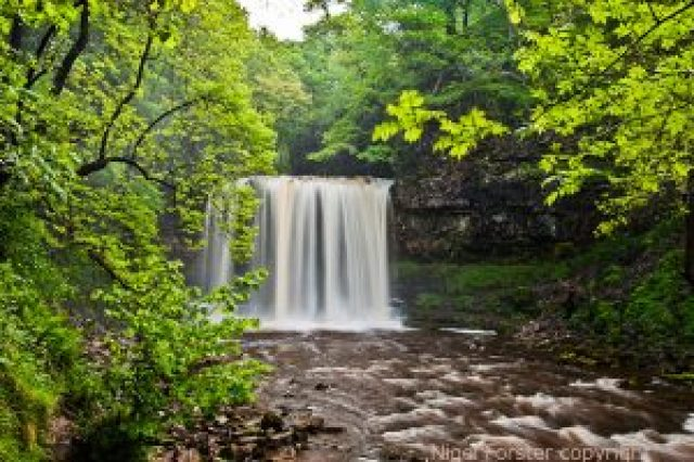 "alt=""photo of Sgwd Eira, waterfall by Nigel Forster from Brecon Beacons within the Fforest Fawr UNESCO Global Geopark Wales"""