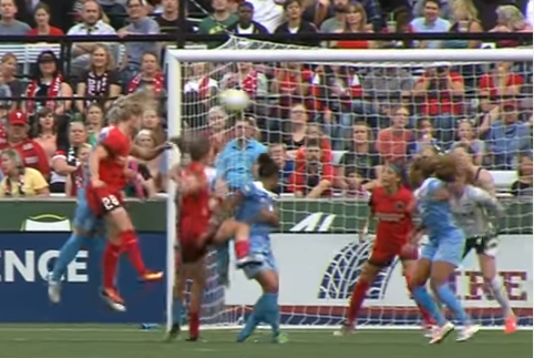 Nadim redirects away from Naeher (behind her in the screencap)